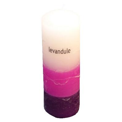 Tříbarevná svíčka s vůní levandule válec