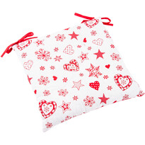 Vánoční sedák Vločka a srdce červená, 40 x 40 cm