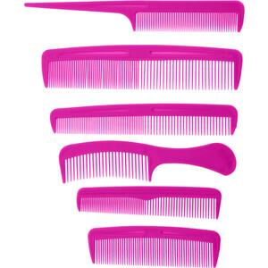 Sada hřebenů Combs růžová, 6 ks