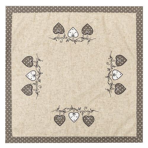 Faţă de masă Inimioare bulină, gri, 85 x 85 cm
