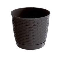 Ratolla Round műanyag virágcserép sötétbarna, 22 cm átmérő
