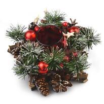 Sfeșnic Neige de Crăciun, din ratan, roșu, 20 cm