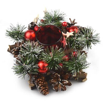 Vianočný ratanový svietnik Neige červená, 20 cm
