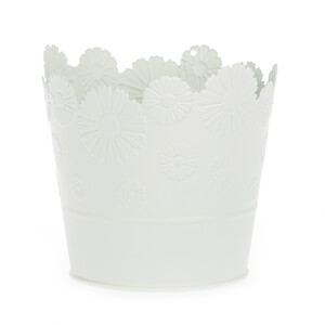 Zinkový květináč Daisy bílá, pr. 13,5 cm