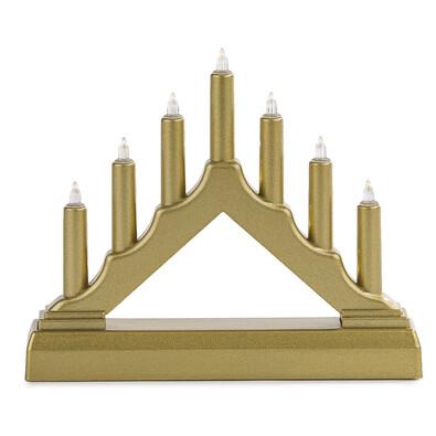 Vánoční LED svícen 7 svíček, zlatá