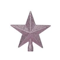 Vârf pom de Crăciun Glitter star, roz