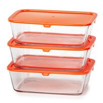Mäser Sada skleněných dóz Basics, 3 ks, oranžová