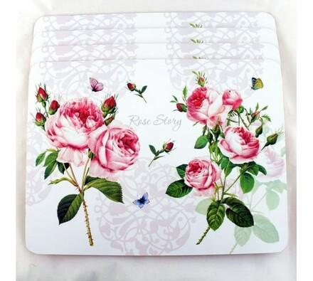 Korková podložka Růže 40 × 30 cm, sada 4 kusů