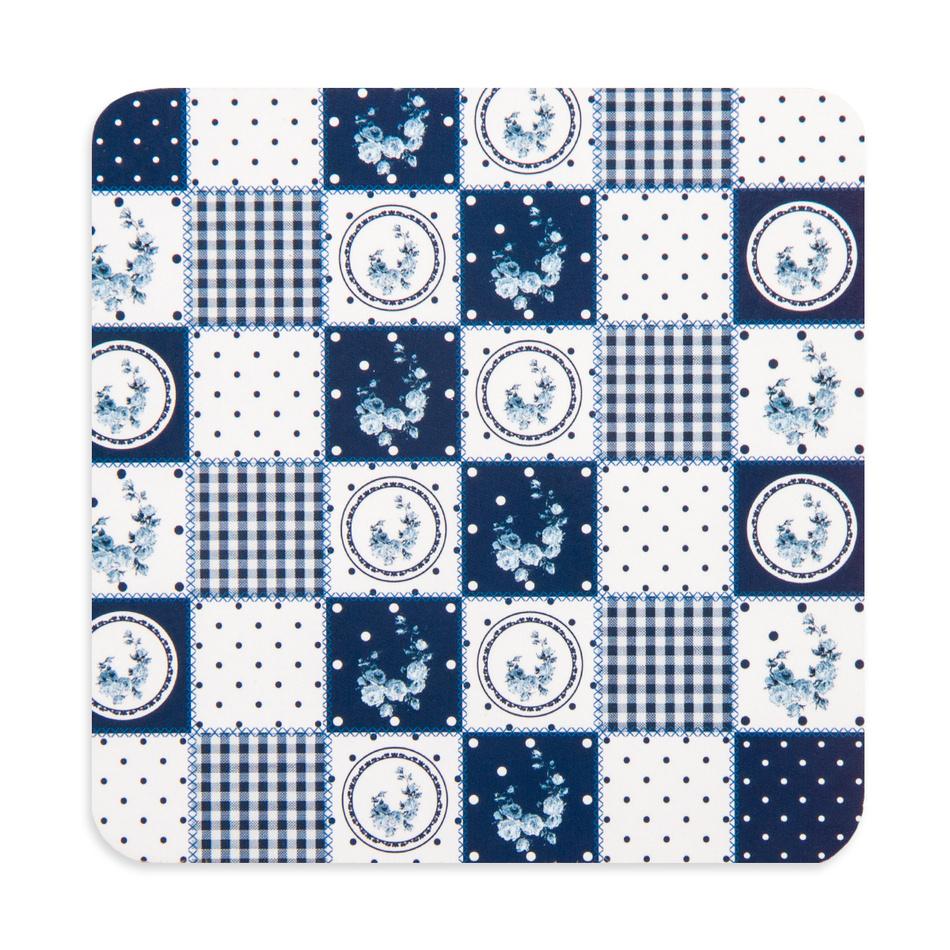 Korkové prostírání Country blue, 10 x 10 cm, sada 4 ks