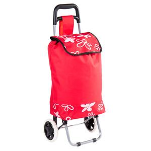 Nákupní taška na kolečkách Flower červená
