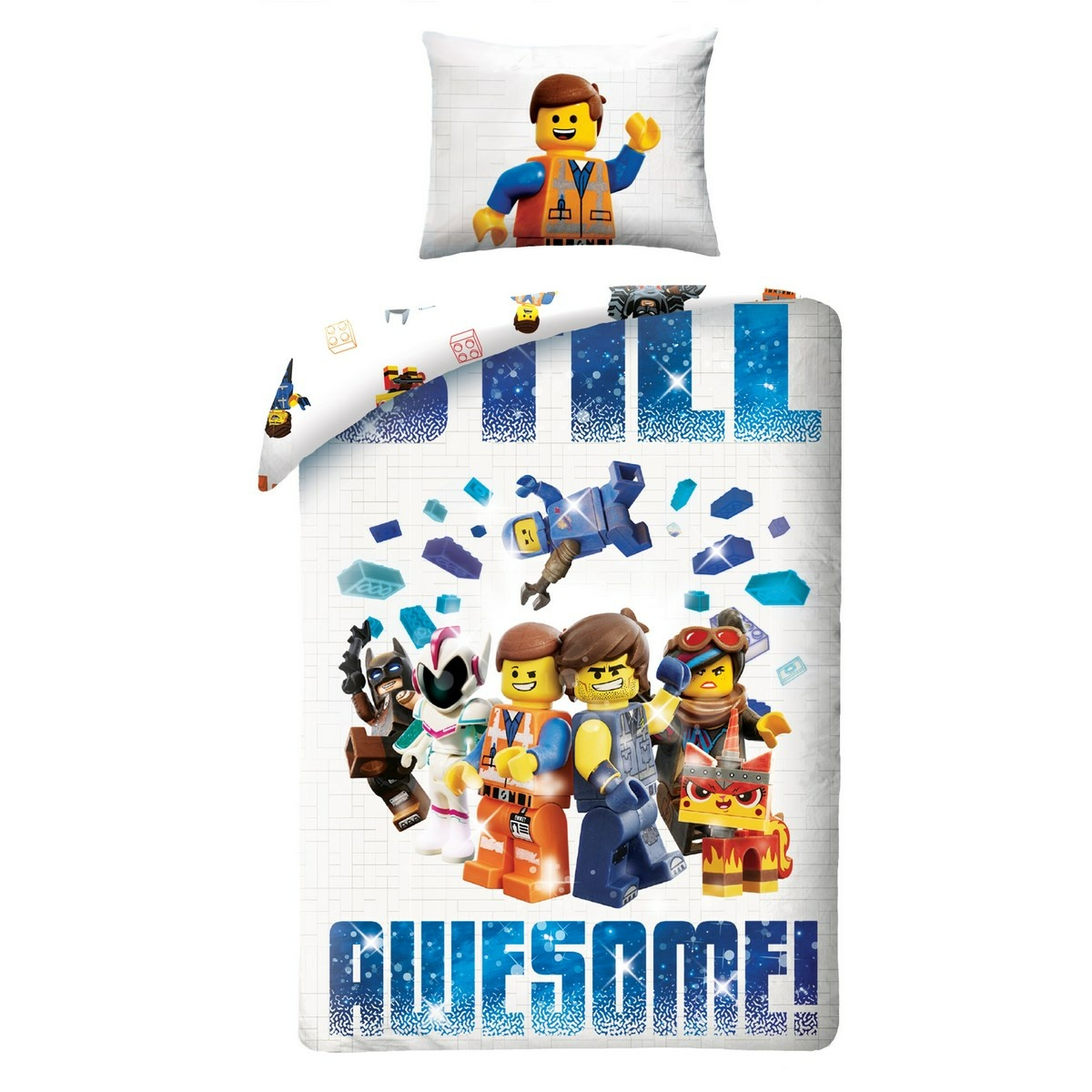 Lenjerie din bumbac, pentru copii Lego Awesome, 140 x 200 cm, 70 x 90 cm imagine 2021 e4home.ro