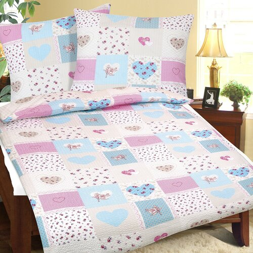 Bellatex Krepové obliečky Srdce modro-ružová, 140 x 200 cm, 70 x 90 cm