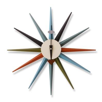 Nástěnné hodiny Sunburst Clock 47 cm, barevné