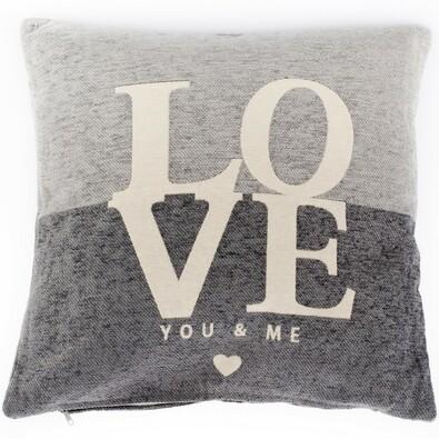 Poszewka na poduszkę Love szary, 45 x 45 cm