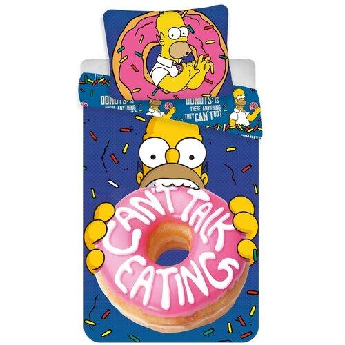 Jerry Fabrics Dětské bavlněné povlečení Simpsons Homer donut, 140 x 200 cm, 70 x 90 cm