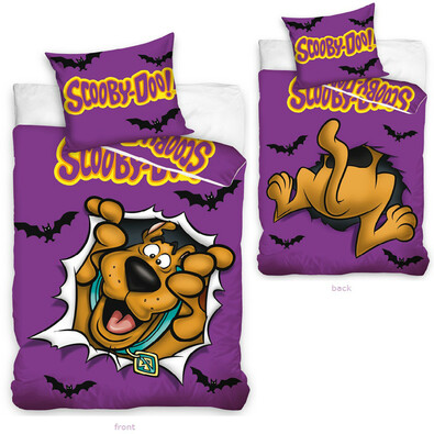 Dětské povlečení Scooby Doo fialová, 140 x 200 cm, 70 x 80 cm
