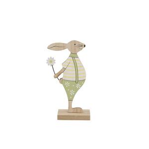 Dřevěný zajíc zelená, 19 cm