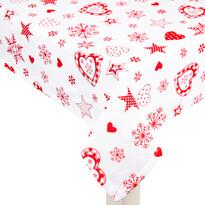 Vánoční ubrus Vločka a srdce červená, 120 x 140 cm