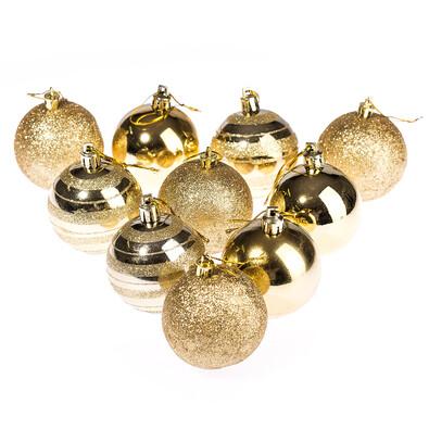 Vánoční koule 10 ks, zlatá