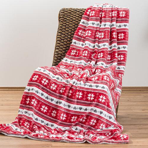 4Home koc z barankiem Zimowy sen czerwony, 150 x 200 cm