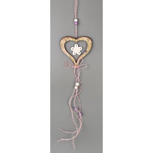 Drevená závesná dekorácia Srdce hnedá, 50 cm