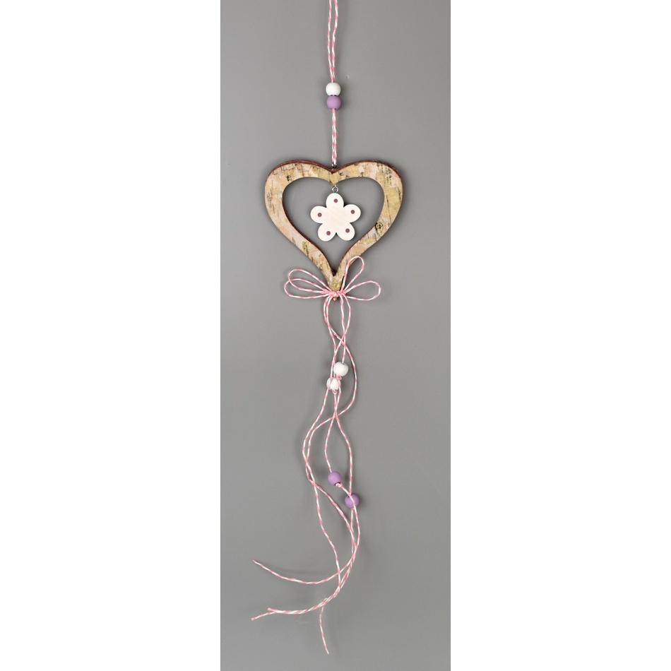 Dřevěná závěsná dekorace Srdce hnědá, 50 cm