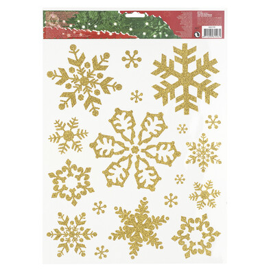 Vánoční okenní dekorace vločky zlatá