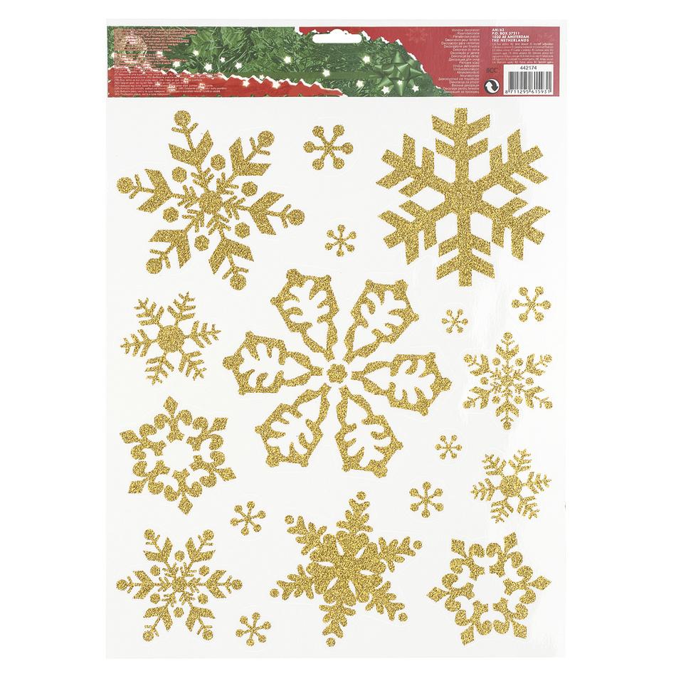 Vianočná okenná dekorácia vločky zlatá