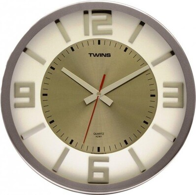 Twist white wood 2361 nástěnné hodiny