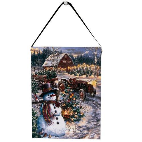 Altom LED obraz na plátně Sněhulák na farmě, 15 x 20 cm