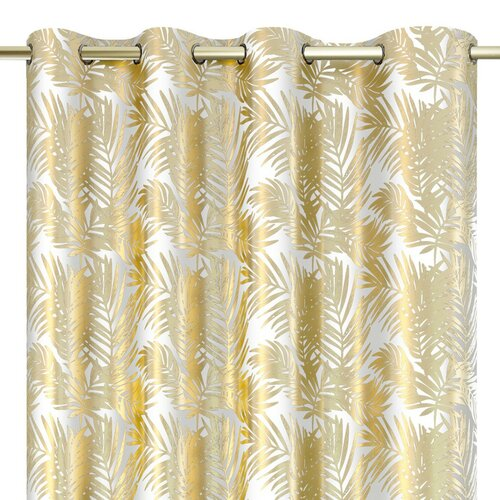 AmeliaHome Zasłona Velvet Golden Leaves biały, 140 x 245 cm