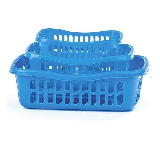 3dielna sada košíkov modrá