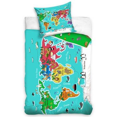 Földrészek gyermek ágynemű, 140 x 200 cm, 70 x 90 cm