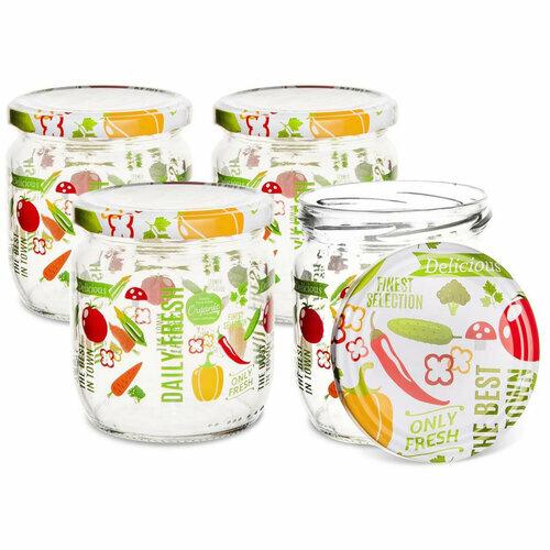 Orion Sada zavařovacích sklenic s víčkem Fruit 0,425 l, 4 ks
