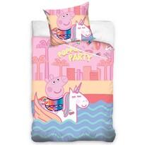 Lenjerie de pat din bumbac, pentru copii, Purceluș Peppa și  Unicornul, 140 x 200 cm, 70 x 90 cm