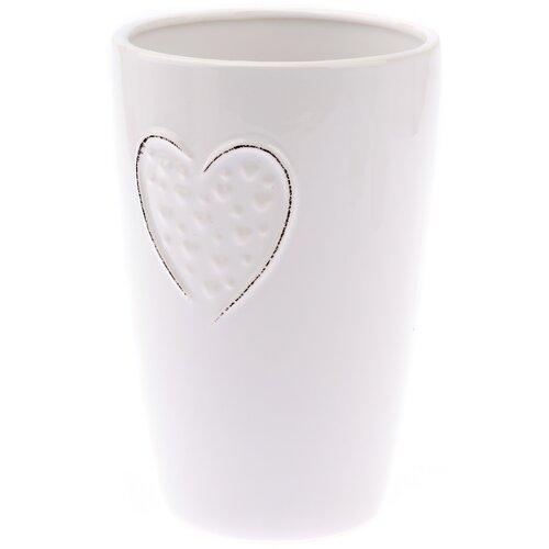 Keramická váza Little hearts bílá, 18 cm