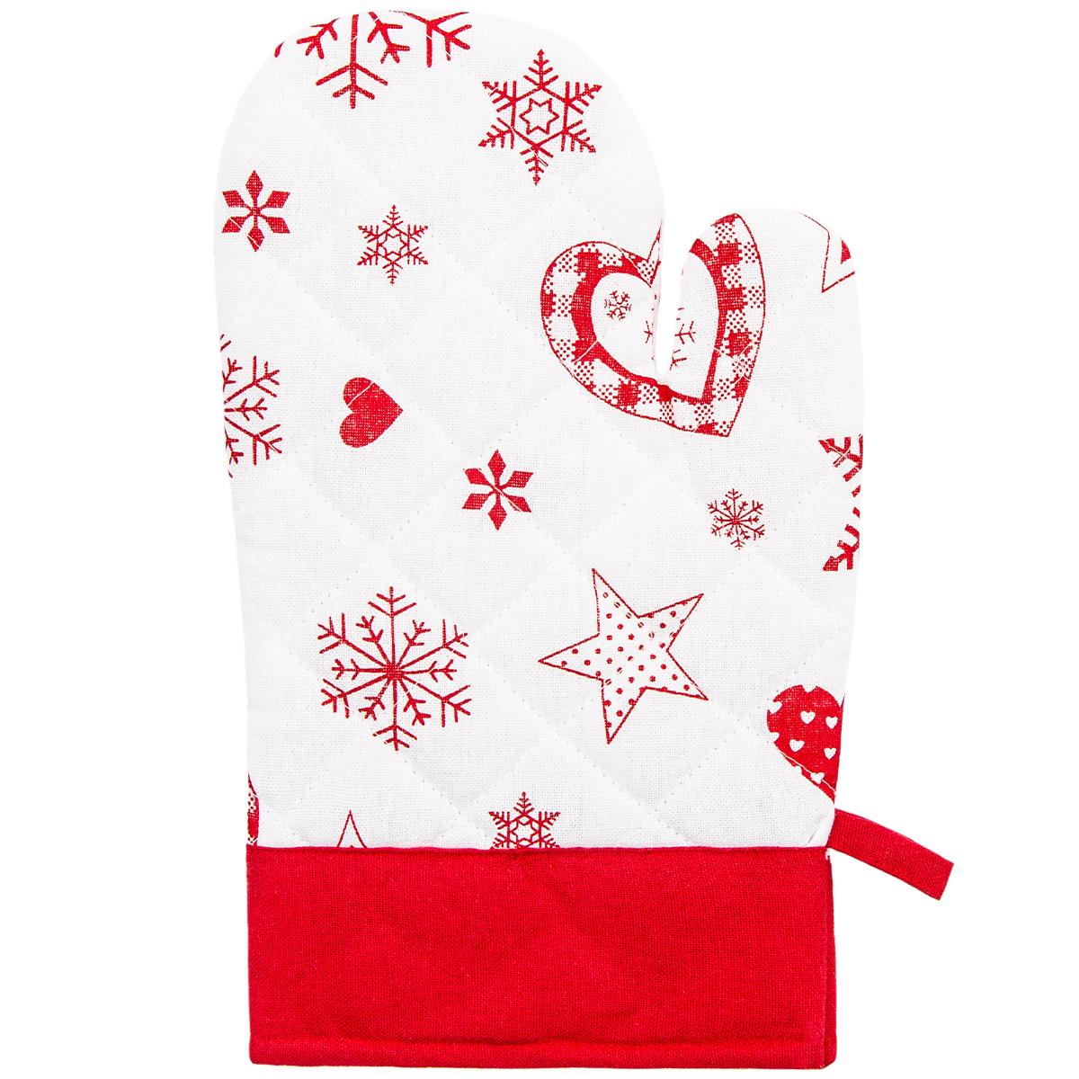 Forbyt Vánoční chňapka s magnetem Vločka a srdce červená, 18 x 28cm