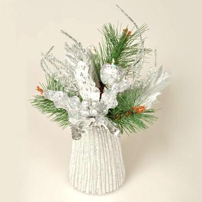 Vánoční aranžmá Poinsettia, stříbrná