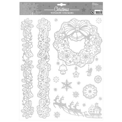 Sticker geam motiv de Crăciun Happy Christmas, argintiu