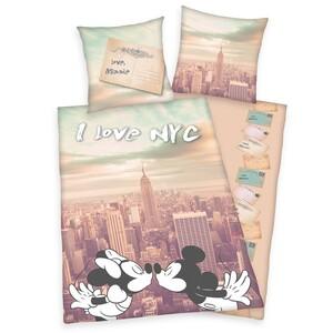 Bavlněné povlečení Mickey a Minnie I love NYC, 140 x 200 cm, 70 x 90 cm
