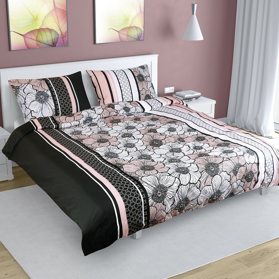 Virág pamut ágynemű, fekete-rózsaszín, 200 x 220 cm, 2 db 50 x 70 cm, 200 x 220 cm, 2ks 50 x 70 cm