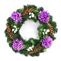 Dušičkový veniec s fialovými chryzantémami, 35 cm