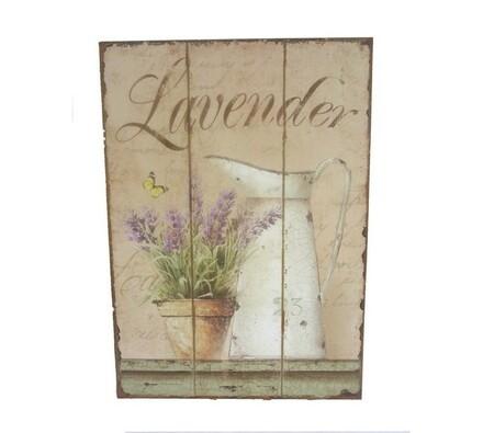 Dřevěný obrázek Levandule, vícebarevná, 24,5 x 34 cm