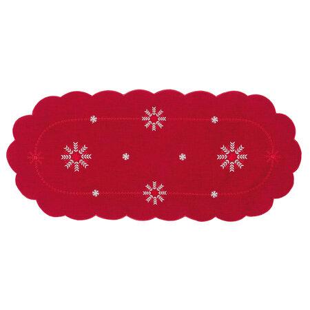 Hópelyhek karácsonyi abrosz piros, 40 x 90 cm