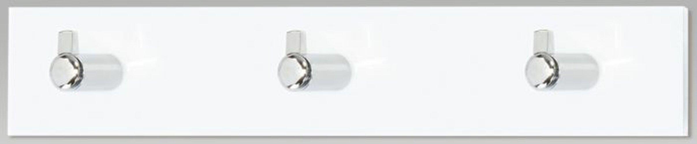 Nástenný vešiak 3 háčiky, biely akrylát, GC3503-3 WT