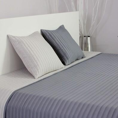 Přehoz na postel Mondo stříbrná a světle šedá, 220 x 240 cm