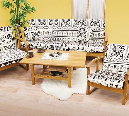 Pokrývka na sedaciu súpravu, biela + hnedá, 145 x 200 cm, 65 x 145 cm, 40 x 4