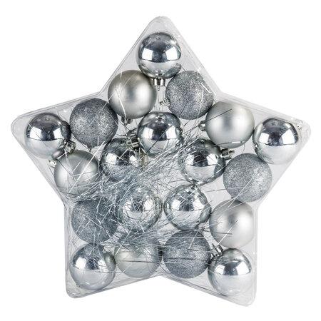 Vánoční koule na stromeček stříbrná 20 kusů