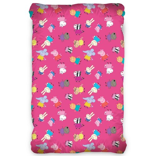 Dziecięce prześcieradło bawełniane Świnka Peppa Pink , 90 x 200 cm