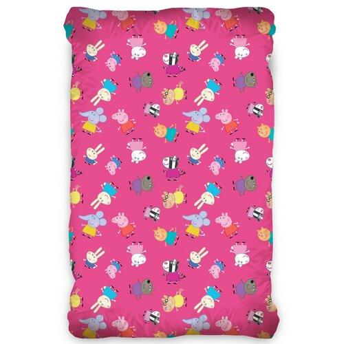 Detské bavlnené prestieradlo Prasiatko Peppa Pink, 90 x 200 cm
